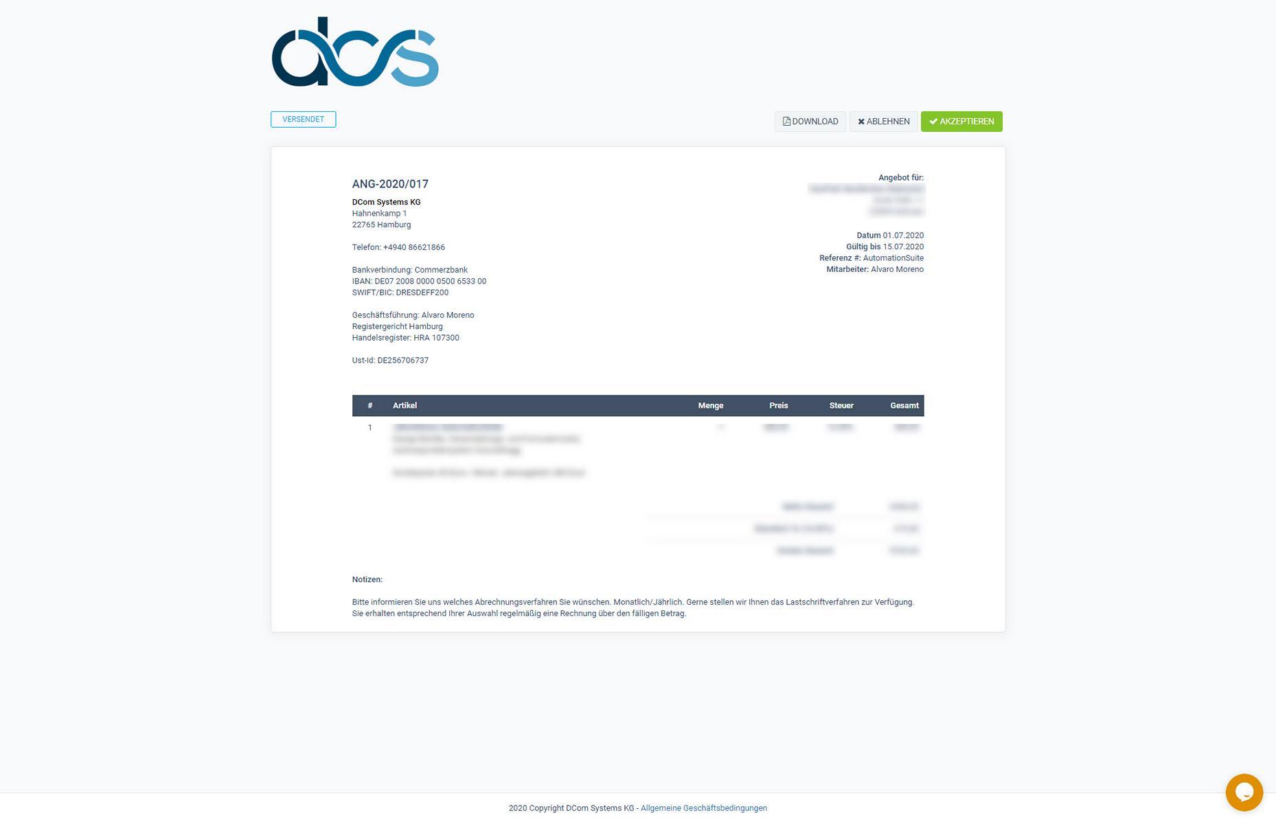 DCS CRM Kundenportal