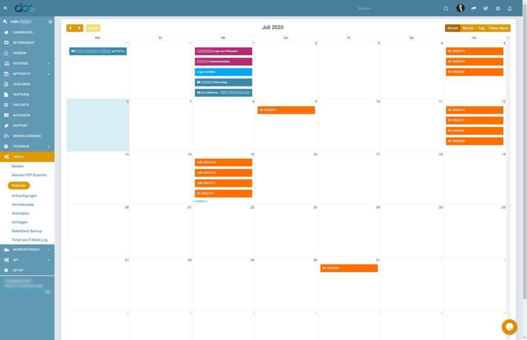 DCS CRM Kalender